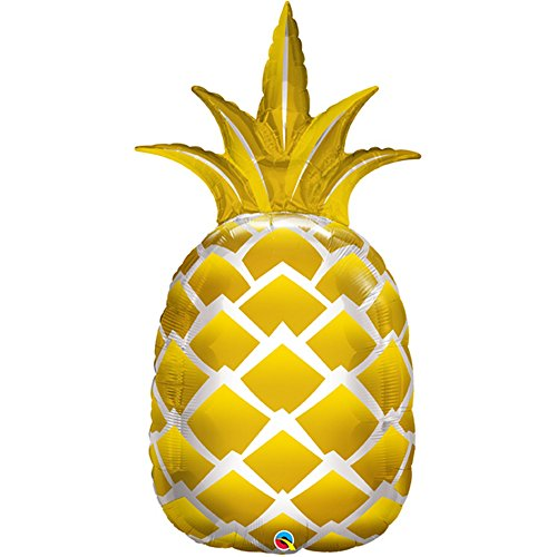 Qualatex 57362 Supershape Folienballon golden Ananas, Blumenkasten von Qualatex