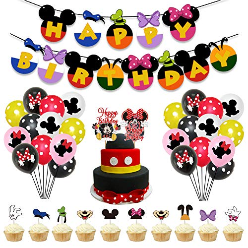 REYOK Mickey Mouse Themed Geburtstag Dekorationen,39 pcs Mickey and Minnie Themed 1st Birthday Party Supplies Alles Gute zum Geburtstag Banner Polka Dot Luftballons Set von REYOK