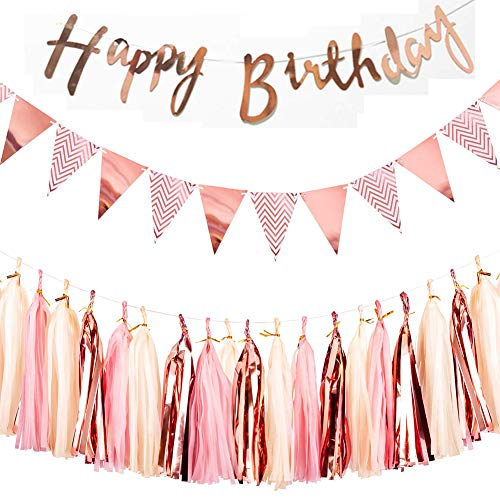 REYOK Rosa Gold Dekorationen Set für Geburtstag - Happy Birthday Banner Girlande, Wimpelkette Banner mit Papiergirlande Tassels Garland Kindergeburtstag deko Rosagold Party Supplies von REYOK
