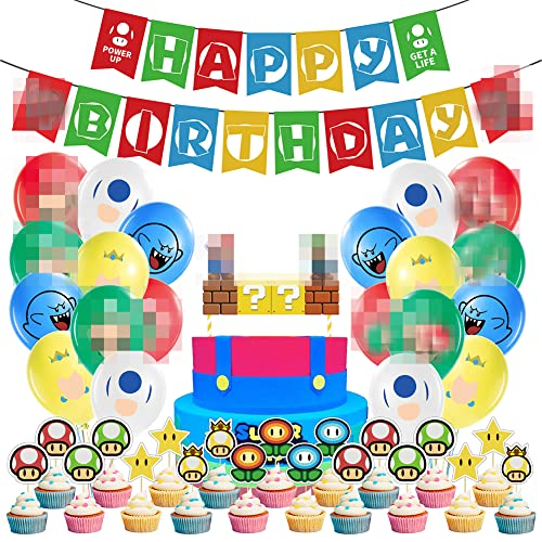 REYOK Super Mario Geburtstag Dekoration Set Mario Bros Geburtstagsdeko Junge, Geburtstag Folien Luftballon Happy Birthday Banner Kuchendeckel Cake Topper für Babyshower Kinder Baby Junge Party von REYOK