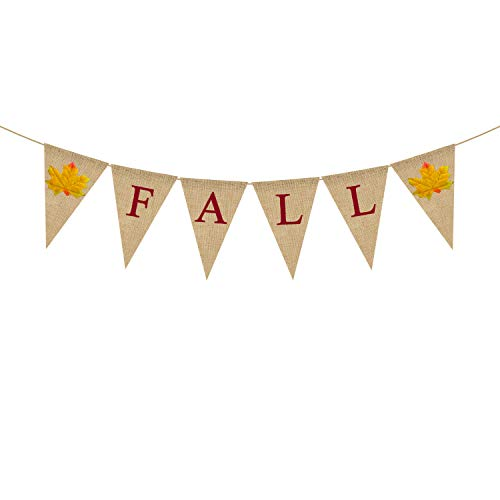 Jute Jute Fall Banner Happy Thanksgiving Day Harvest Girlande Wimpelkette Kamin Kamin Kamin Dekoration von Rainlemon