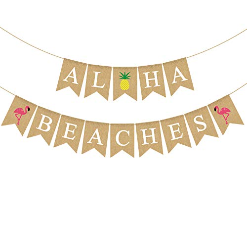Rainlemon Aloha Strände Banner Sackleinen Sommer Luau Bachelorette Brautparty Party Dekoration von Rainlemon