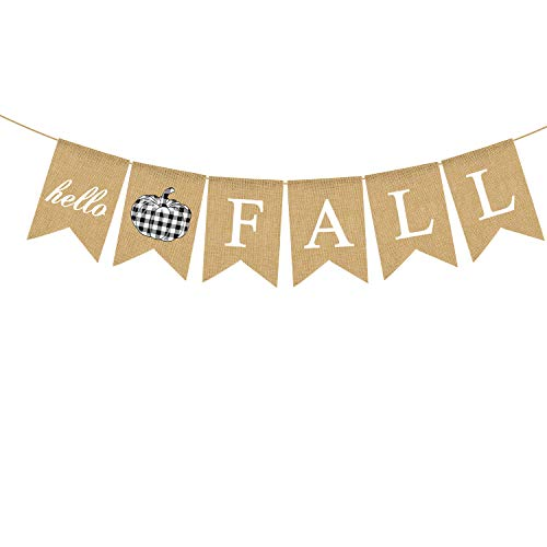 Rainlemon Burlap Hello Fall Banner Büffelkaro Karo Kürbis Thanksgiving Farmhouse Kamin Girlande Dekoration von Rainlemon