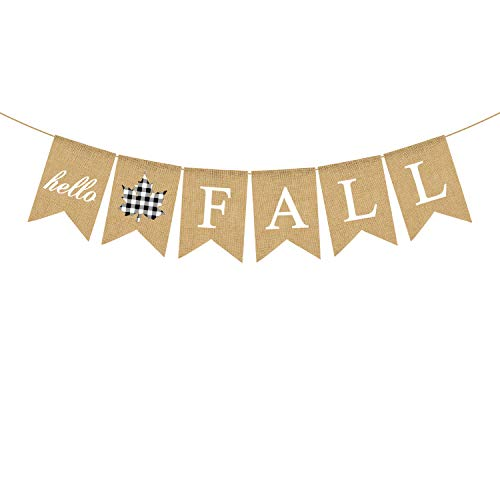 Rainlemon Burlap Hello Fall Banner Buffalo Karo Karo Ahornblatt Thanksgiving Farmhouse Kamin-Girlande Dekoration von Rainlemon