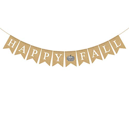 Rainlemon Happy Fall Banner Buffalo Karo Plaid Jute Sackleinen Kürbis Erntedankfest Bauernhaus Kaminsims Girlande Dekoration von Rainlemon