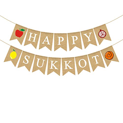 Rainlemon Happy Sukkot Banner, Jute, Jute, Jute von Rainlemon