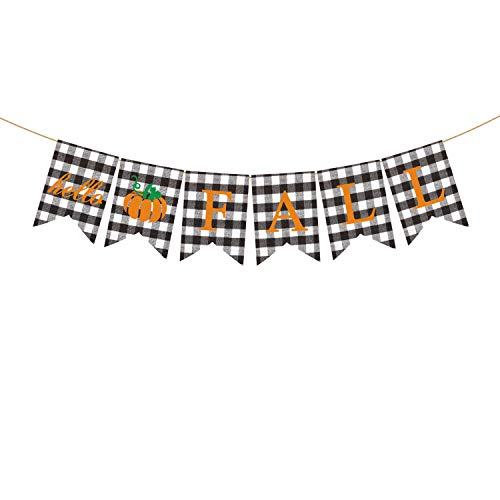 Rainlemon Hello Fall Banner Buffalo Karo Plaid Kürbis Filz Rustikal Thanksgiving Farmhouse Kamin-Girlande Dekoration von Rainlemon