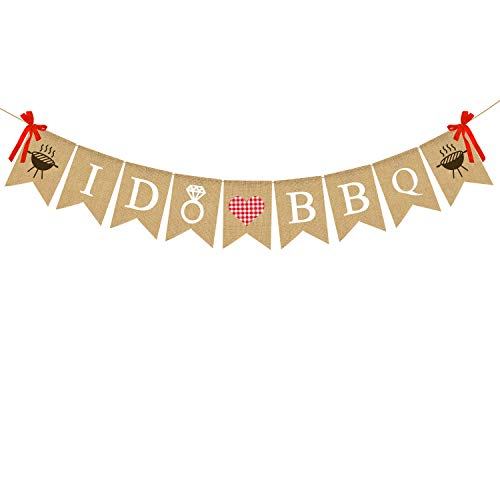 Rainlemon I DO BBQ-Banner aus Jute, Hochzeit, Brautparty, Verlobung, Party-Dekoration. von Rainlemon