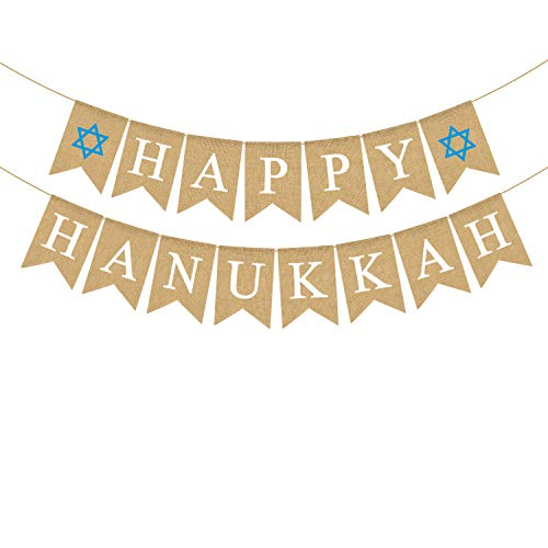 Rainlemon Jute Jute, Happy Hanukkah Banner rustikale Chanukah Holiday Kamin Girlande Dekoration Supply von Rainlemon
