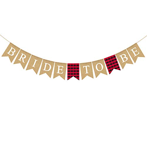Rainlemon Jute Jute Banner Bride to Be, Flanell, Büffelkaro, Bachelorette, Brautparty, Party-Dekoration von Rainlemon