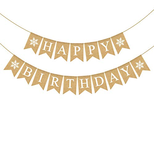 Rainlemon Jute Jute-Banner Happy Birthday mit Schneeflocke Winter Geburtstag Party Wandgirlande Dekoration von Rainlemon