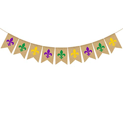 Rainlemon Jute Jute Banner Mardi Gras März New Orleans Party Kamin Girlande Dekoration Supply von Rainlemon