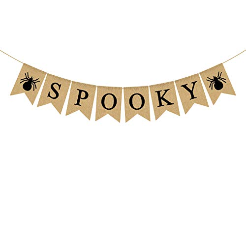 Rainlemon Jute Jute Gruselbanner mit Spinne, Halloween, Party, Kamin, Girlande Dekoration von Rainlemon