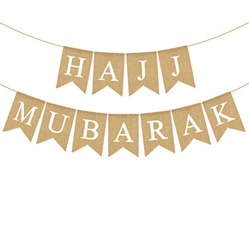Rainlemon Jute Jute Hajj Mubarak Banner Kamin Party Girlande Dekoration von Rainlemon
