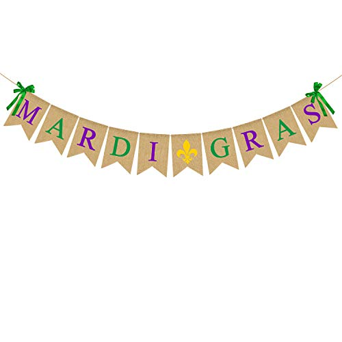 Rainlemon Jute Jute Mardi Gras Banner Mardi Party Kamin Girlande Dekoration Supply von Rainlemon