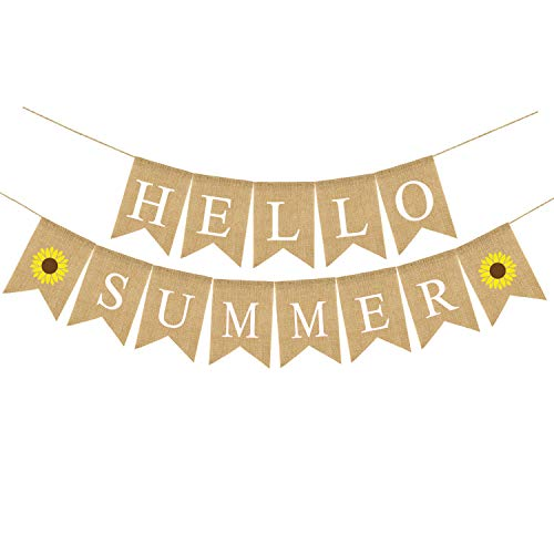 Rainlemon Jute Jute Sackleine Hello Summer Banner mit Sonnenblume Sommer Outdoor Pool Party Kamin Dekoration von Rainlemon