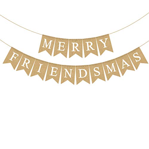 Rainlemon Jute Jute Sackleine Merry Friendsmas Banner Rustikal Weihnachten Urlaub Freunde Party Girlande Dekoration von Rainlemon