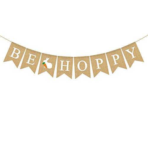 Rainlemon Jute Sackleine Be Hoppy Banner mit Hasenfrühling, Ostern, Party-Dekoration von Rainlemon