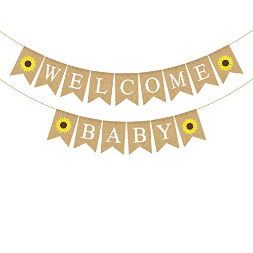 Rainlemon Jute Sackleine Welcome Baby Banner mit Sonnenblume Baby Shower Girlande Dekoration von Rainlemon