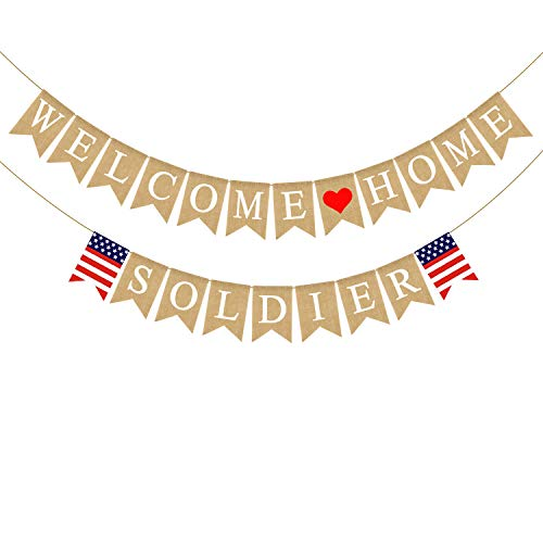Rainlemon Jute Sackleine Welcome Home Soldier Banner American Military Army Family Girlande Dekoration von Rainlemon