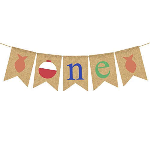 Rainlemon Little Fisherman Theme Boy Girl 1st Birthday Party Banner Jute Jutejute Angelhochstuhl Dekoration von Rainlemon
