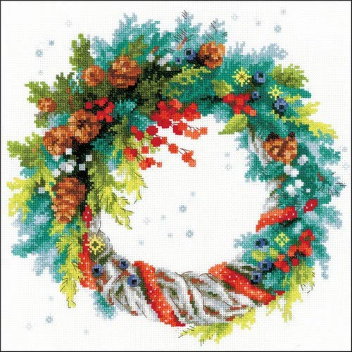 Riolis Wreath with Blue Spruce Cross Stitch kit, Baumwolle, Multi-Color, 30 x 30 x 0,1 cm von Riolis
