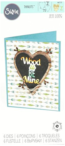 Sizzix 661135 Holz U Be Mine Phrase Thinlits sterben Set by Jen lang (6 Pack) von Sizzix