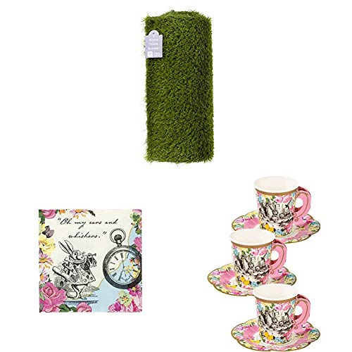 Talking Tables Artificial Grass Table Runner, Alice in Wonderland Cocktail Napkins, Cup and Saucer Set | Mad Hatter Afternoon Tea Party Tableware Decorations for kids or adults birthday parties von Talking Tables