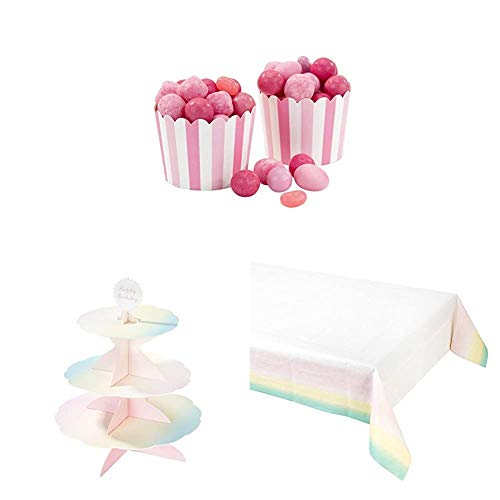 Talking Tables Pink Cupcake Cases/Treat Tubs, Paper Cakestand, Tablecover | Pretty Pink Party Decorations for Kids Birthday Parties for Girls, ideal for first birthday , baby shower or wedding von Talking Tables