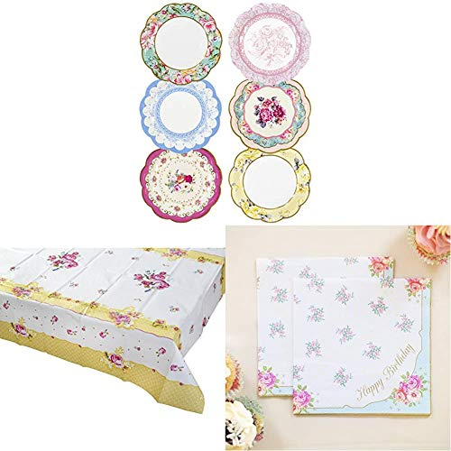 Talking Tables Truly Scrumptious Afternoon Tea Party Pretty Paper Plates, Floral Tablecover, Floral Paper Napkins von Talking Tables