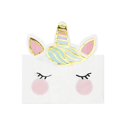 Talking Tables UNICORN-NAP-FACE Einhorn geformte Serviette 16Pk, Paper von Talking Tables