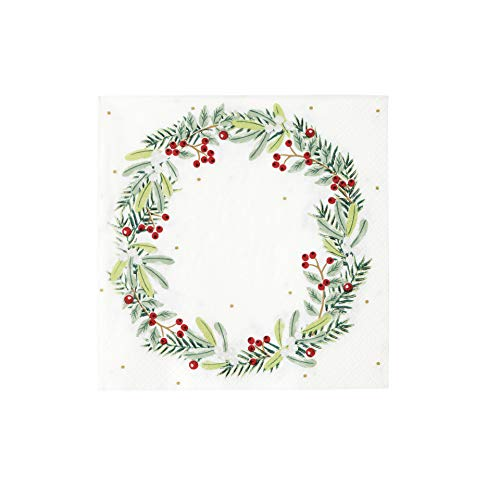 Talking Tables Weihnachtsfeier Dekorationen Christmas Paper Napkins Berry Wreath 20 Pack, Red Green Xmas Dinner Lunch Party von Talking Tables