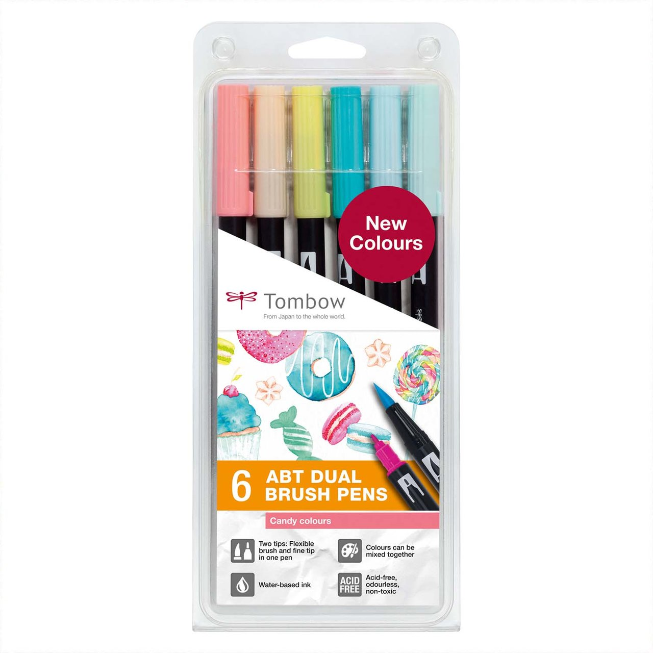 Tombow ABT Dual Brush Pen-Set Candy Colours 6teilig von Tombow