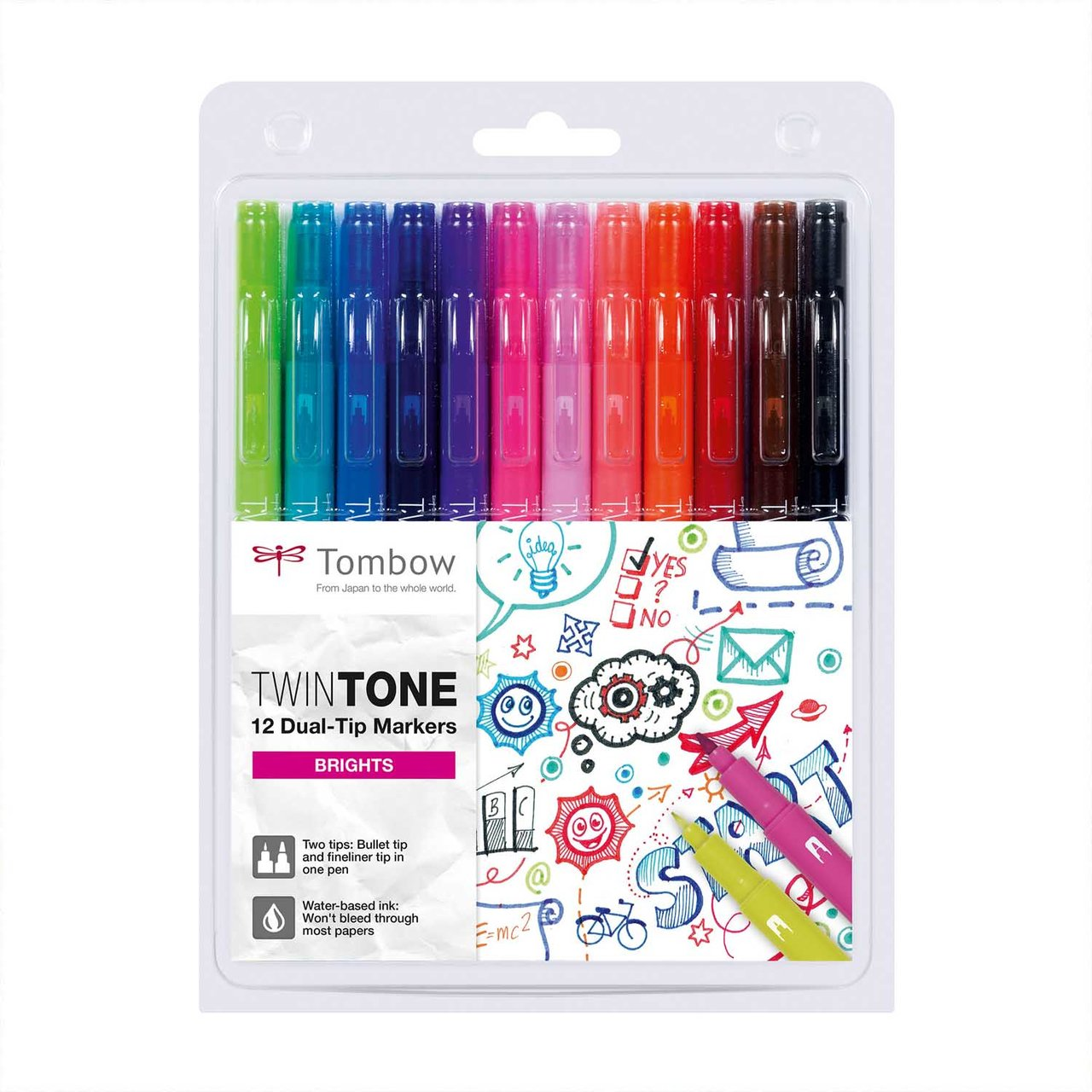 Tombow TwinTone Fasermaler Brights 12 Stück von Tombow