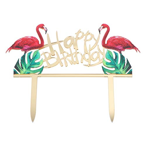 Toyvian Geburtstag Kuchen Topper mit Happy Birthday Flamingo Cake Decoration für Geburtstags Party Dekoration von Toyvian