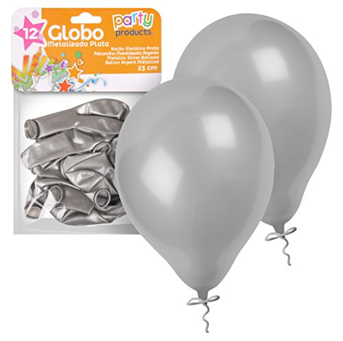 PARTY-Pack 12 Luftballons, 23 cm, Farbe Metallic Silber (68409) von PARTY