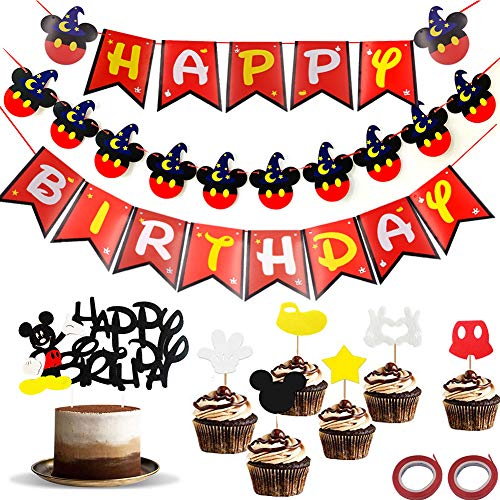 WENTS Geburtstag Dekoration Party Supplies 9Stück Mickey Mouse Party Dekoration Kit Mickey Birthday Party Banner with Cake Topper für Happy Birthday Party Dekorationen Supplies von WENTS