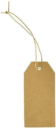 Wrapables 50 Gift Tags/Kraft Hang Tags with Free Cut Strings for Gifts Crafts and Price Tags, Original Tag von Wrapables