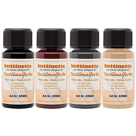 "buttinette Stoffmalfarben-Set ""Natur"", 4x 50 ml von buttinette"