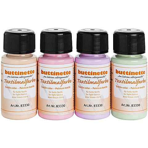 "buttinette Stoffmalfarben-Set ""Pastell"", 4x 50 ml von buttinette"