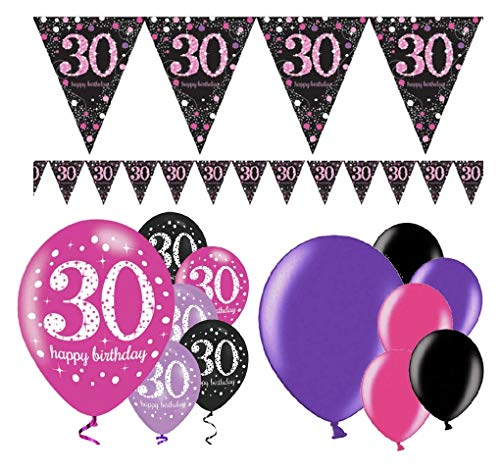 Feste Feiern Geburtstagsdeko 30. Geburtstag | 13 Teile Deko-Set Luftballon Wimpel Girlande Banner Pink Schwarz Violett metallic Party Happy Birthday 30 von festefeiern-shop.de