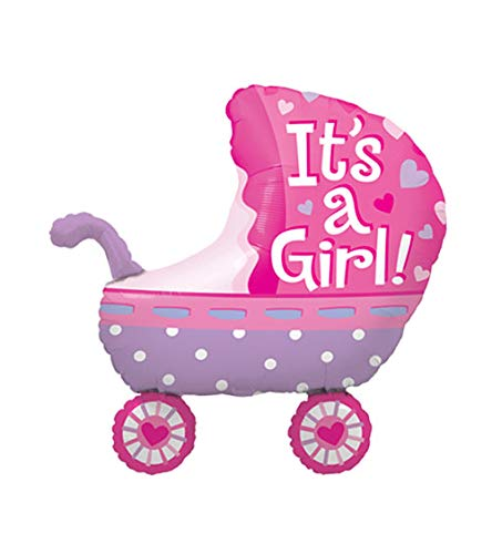 generisch It is a Girl / Its A Boy Kinderwagen Luftballon 71x70cm Babyparty Baby Shower Layal Design Baby Shower Folienballon - Dekoration für eine It's a Boy Junge Babyparty (Its a Girl) von generisch